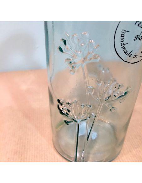 vase transparent gravé fleur